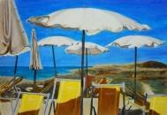 Gli ombrelloni - olio su tavola 24,4x35,5 © 2015