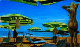 La spiaggia - olio su tavola 17x 29 cm ©2015